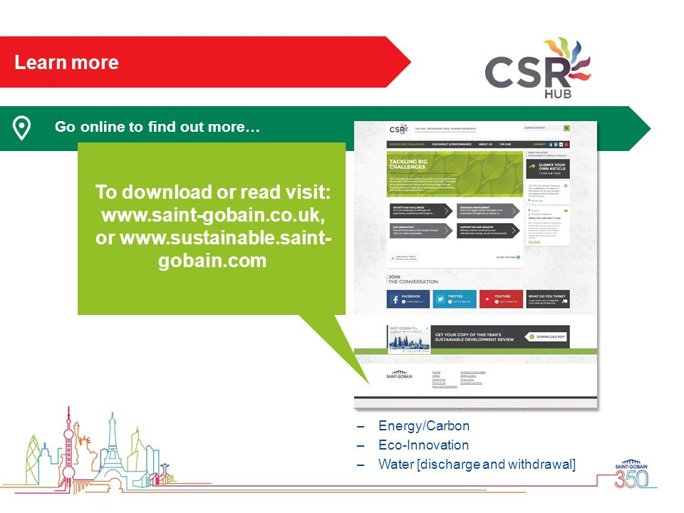Learn more Go online to find out more… Energy/Carbon. Eco-Innovation. Water [discharge and withdrawal]